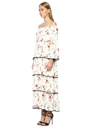 Kayık Yaka Çiçek Desenli Uzun Elbise-Foxiedox